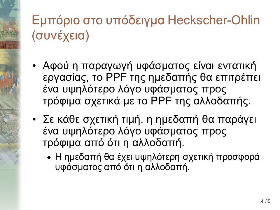 4-35 Εμπόριο στο υπόδειγμα Heckscher-Ohlin (συνέχεια) Αφού η παραγωγή υφάσματος είναι εντατική εργασίας, το PPF της ημεδαπής θα επιτρέπει ένα υψηλότερο λόγο υφάσματος προς τρόφιμα σχετικά με το PPF της αλλοδαπής.