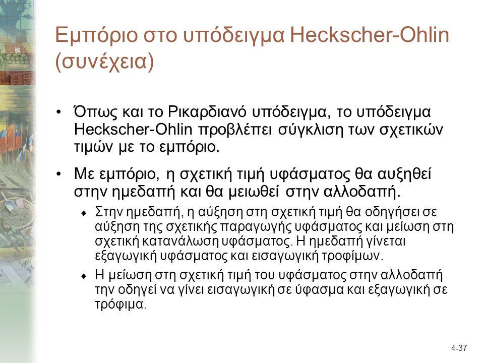 4-37 Εμπόριο στο υπόδειγμα Heckscher-Ohlin (συνέχεια) Όπως και το Ρικαρδιανό υπόδειγμα, το υπόδειγμα Heckscher-Ohlin προβλέπει σύγκλιση των σχετικών τιμών με το εμπόριο.