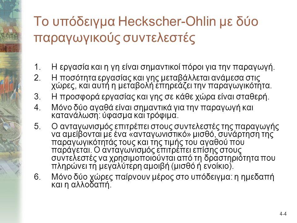 4-4 Το υπόδειγμα Heckscher-Ohlin με δύο παραγωγικούς συντελεστές 1.Η εργασία και η γη είναι σημαντικοί πόροι για την παραγωγή. 2.Η ποσότητα εργασίας κ