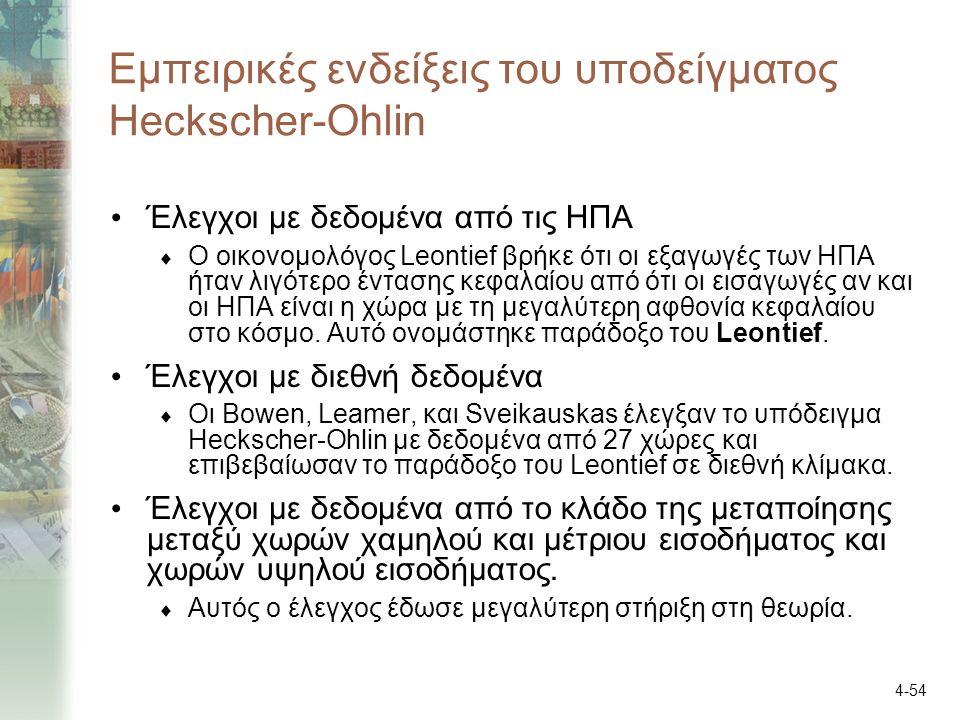 4-54 Εμπειρικές ενδείξεις του υποδείγματος Heckscher-Ohlin Έλεγχοι με δεδομένα από τις ΗΠΑ  Ο οικονομολόγος Leontief βρήκε ότι οι εξαγωγές των ΗΠΑ ήταν λιγότερο έντασης κεφαλαίου από ότι οι εισαγωγές αν και οι ΗΠΑ είναι η χώρα με τη μεγαλύτερη αφθονία κεφαλαίου στο κόσμο.