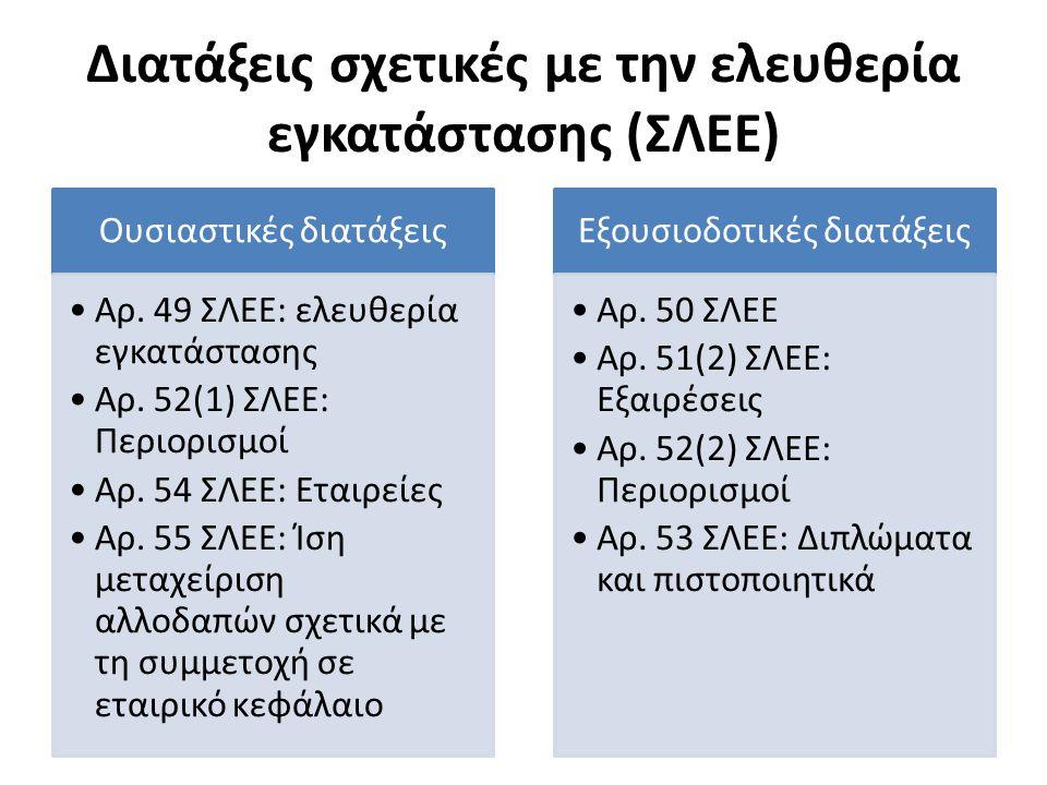 Διατάξεις σχετικές με την ελευθερία εγκατάστασης (ΣΛΕΕ) Ουσιαστικές διατάξεις Αρ. 49 ΣΛΕΕ: ελευθερία εγκατάστασης Αρ. 52(1) ΣΛΕΕ: Περιορισμοί Αρ. 54 Σ