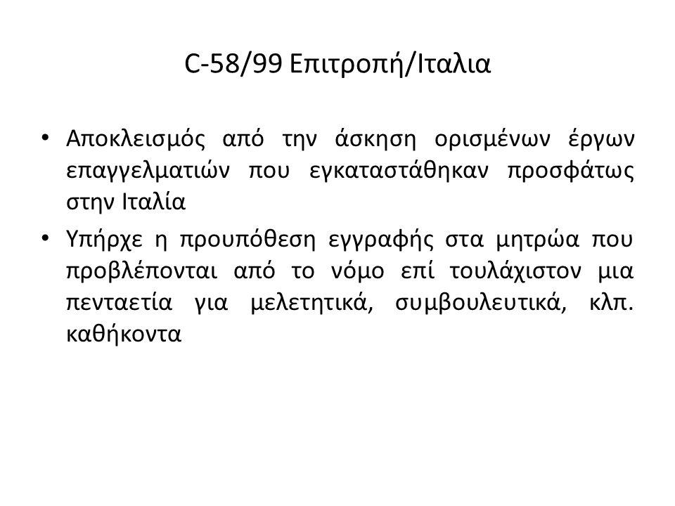 C-58/99 Επιτροπή/Ιταλια Αποκλεισμός από την άσκηση ορισμένων έργων επαγγελματιών που εγκαταστάθηκαν προσφάτως στην Ιταλία Υπήρχε η προυπόθεση εγγραφής στα μητρώα που προβλέπονται από το νόμο επί τουλάχιστον μια πενταετία για μελετητικά, συμβουλευτικά, κλπ.