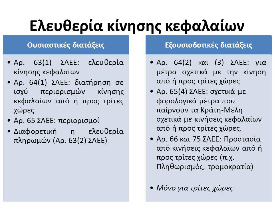Ελευθερία κίνησης κεφαλαίων Ουσιαστικές διατάξεις Αρ. 63(1) ΣΛΕΕ: ελευθερία κίνησης κεφαλαίων Αρ. 64(1) ΣΛΕΕ: διατήρηση σε ισχύ περιορισμών κίνησης κε