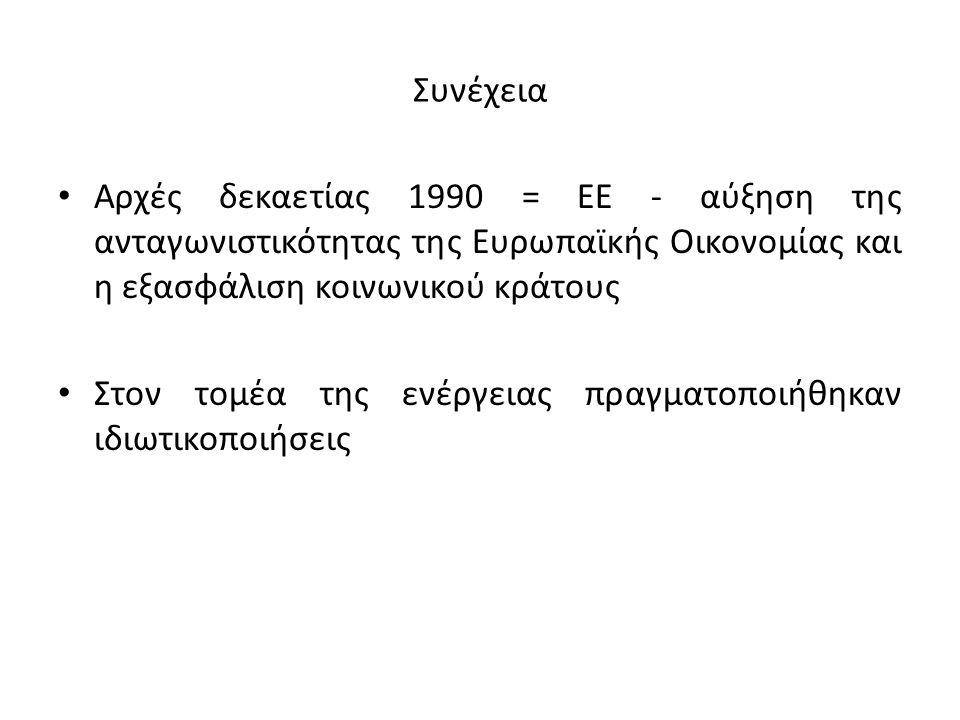 Συνέχεια Αρχές δεκαετίας 1990 = ΕΕ - αύξηση της ανταγωνιστικότητας της Ευρωπαϊκής Οικονομίας και η εξασφάλιση κοινωνικού κράτους Στον τομέα της ενέργε