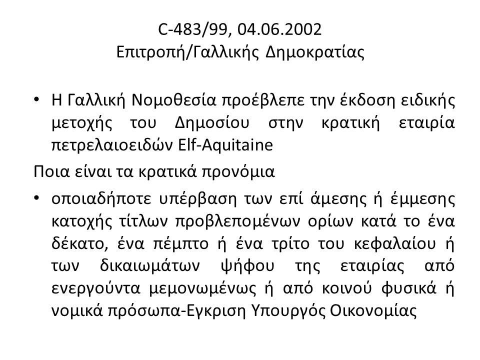 C-483/99, 04.06.2002 Επιτροπή/Γαλλικής Δημοκρατίας Η Γαλλική Νομοθεσία προέβλεπε την έκδοση ειδικής μετοχής του Δημοσίου στην κρατική εταιρία πετρελαιοειδών Elf-Aquitaine Ποια είναι τα κρατικά προνόμια οποιαδήποτε υπέρβαση των επί άμεσης ή έμμεσης κατοχής τίτλων προβλεπομένων ορίων κατά το ένα δέκατο, ένα πέμπτο ή ένα τρίτο του κεφαλαίου ή των δικαιωμάτων ψήφου της εταιρίας από ενεργούντα μεμονωμένως ή από κοινού φυσικά ή νομικά πρόσωπα-Εγκριση Υπουργός Οικονομίας
