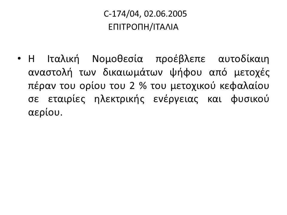 C-174/04, 02.06.2005 ΕΠΙΤΡΟΠΗ/ΙΤΑΛΙΑ Η Ιταλική Νομοθεσία προέβλεπε αυτοδίκαιη αναστολή των δικαιωμάτων ψήφου από μετοχές πέραν του ορίου του 2 % του μετοχικού κεφαλαίου σε εταιρίες ηλεκτρικής ενέργειας και φυσικού αερίου.