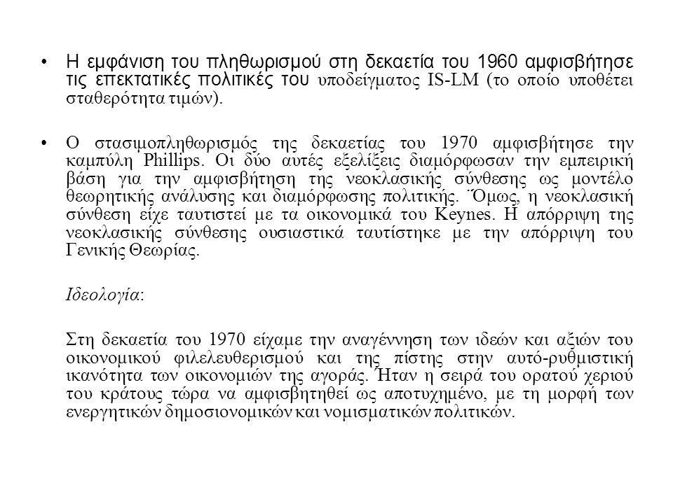 Η εμφάνιση του πληθωρισμού στη δεκαετία του 1960 αμφισβήτησε τις επεκτατικές πολιτικές του υποδείγματος IS-LM (το οποίο υποθέτει σταθερότητα τιμών).