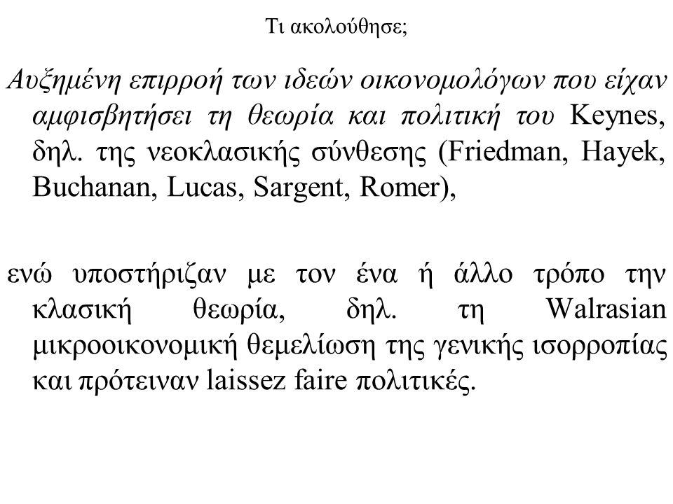 Τι ακολούθησε; Αυξημένη επιρροή των ιδεών οικονομολόγων που είχαν αμφισβητήσει τη θεωρία και πολιτική του Keynes, δηλ.
