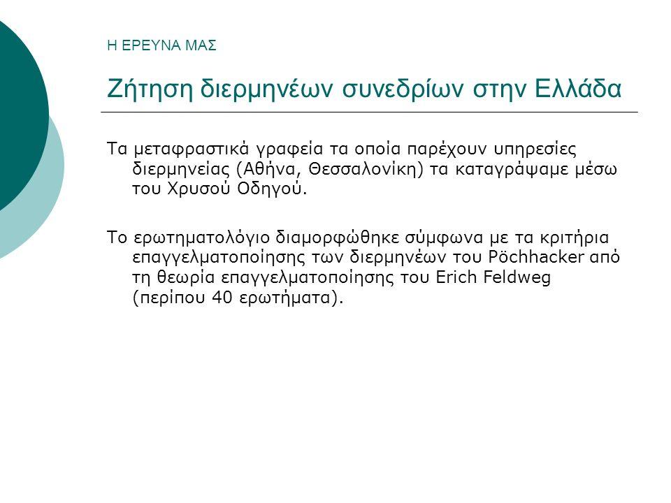Η ΕΡΕΥΝΑ ΜΑΣ Ζήτηση διερμηνέων συνεδρίων στην Ελλάδα Τα μεταφραστικά γραφεία τα οποία παρέχουν υπηρεσίες διερμηνείας (Αθήνα, Θεσσαλονίκη) τα καταγράψαμε μέσω του Χρυσού Οδηγού.