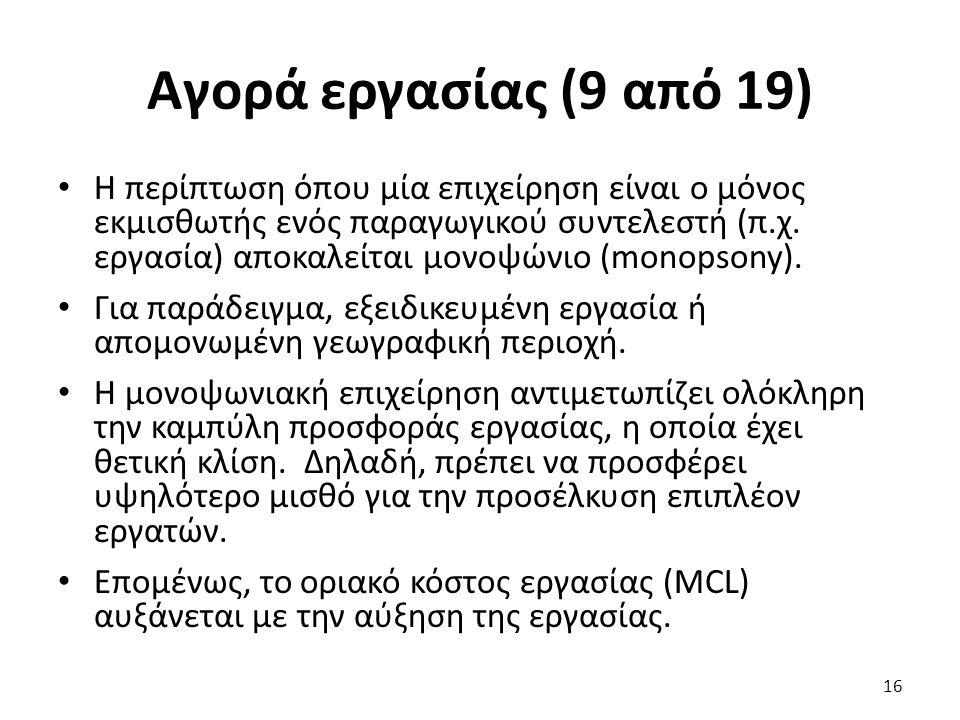 Αγορά εργασίας (9 από 19) Η περίπτωση όπου μία επιχείρηση είναι ο μόνος εκμισθωτής ενός παραγωγικού συντελεστή (π.χ.