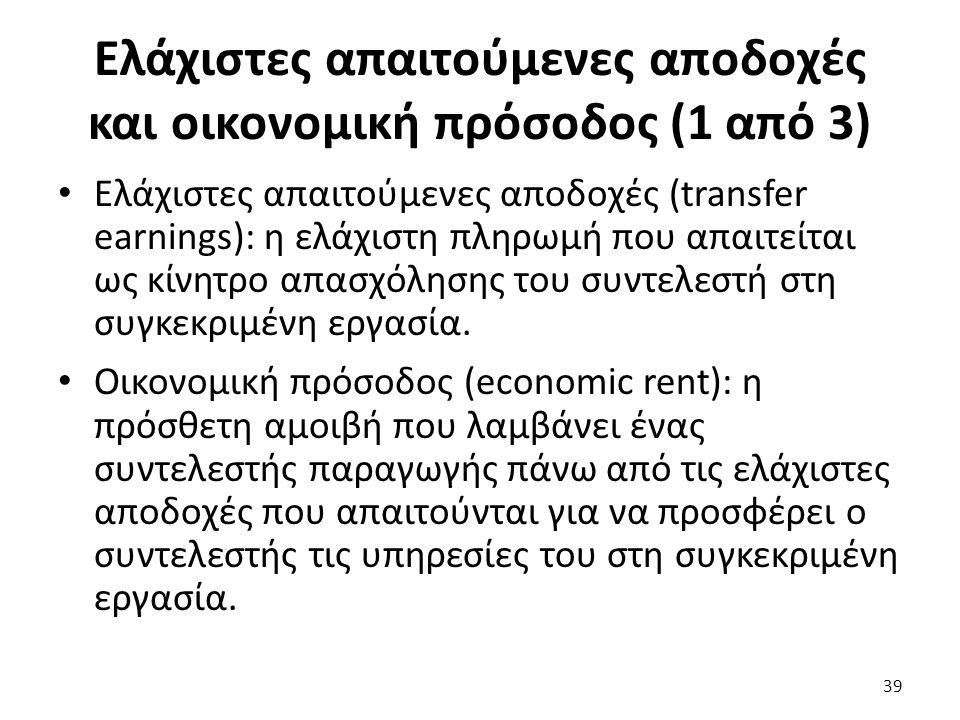 Ελάχιστες απαιτούμενες αποδοχές και οικονομική πρόσοδος (1 από 3) Ελάχιστες απαιτούμενες αποδοχές (transfer earnings): η ελάχιστη πληρωμή που απαιτείται ως κίνητρο απασχόλησης του συντελεστή στη συγκεκριμένη εργασία.
