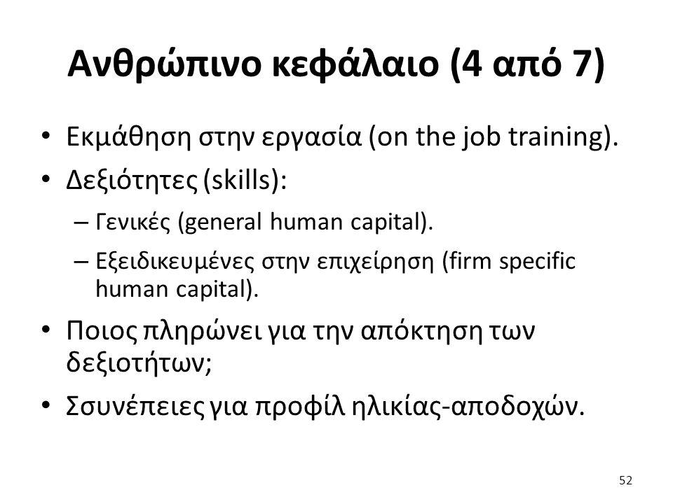 Ανθρώπινο κεφάλαιο (4 από 7) Εκμάθηση στην εργασία (on the job training).