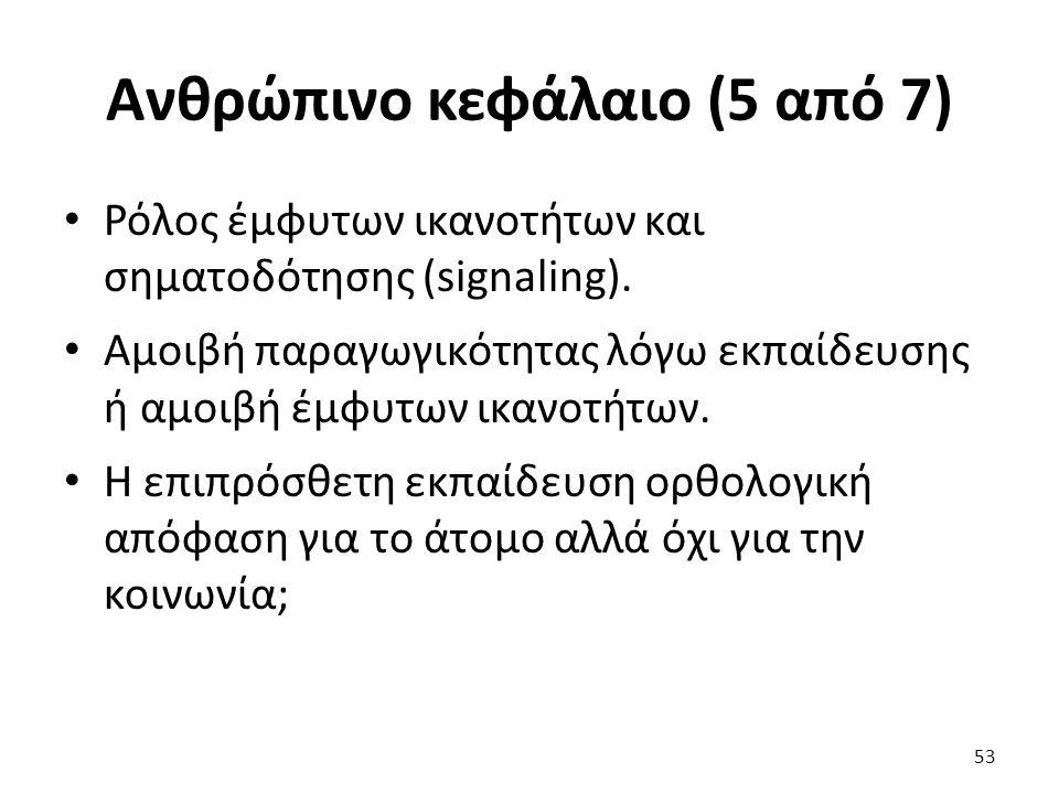 Ανθρώπινο κεφάλαιο (5 από 7) Ρόλος έμφυτων ικανοτήτων και σηματοδότησης (signaling).