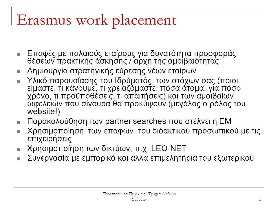 Πανεπιστήμιο Πειραιώς - Τμήμα Διεθνών Σχέσεων 5 Erasmus work placement Επαφές με παλαιούς εταίρους για δυνατότητα προσφοράς θέσεων πρακτικής άσκησης / αρχή της αμοιβαιότητας Δημιουργία στρατηγικής εύρεσης νέων εταίρων Υλικό παρουσίασης του Ιδρύματός, των στόχων σας (ποιοι είμαστε, τι κάνουμε, τι χρειαζόμαστε, πόσα άτομα, για πόσο χρόνο, τι προϋποθέσεις, τι απαιτήσεις) και των αμοιβαίων ωφελειών που σίγουρα θα προκύψουν (μεγάλος ο ρόλος του website!) Παρακολούθηση των partner searches που στέλνει η ΕΜ Χρησιμοποίηση των επαφών του διδακτικού προσωπικού με τις επιχειρήσεις Χρησιμοποίηση των δικτύων, π.χ.
