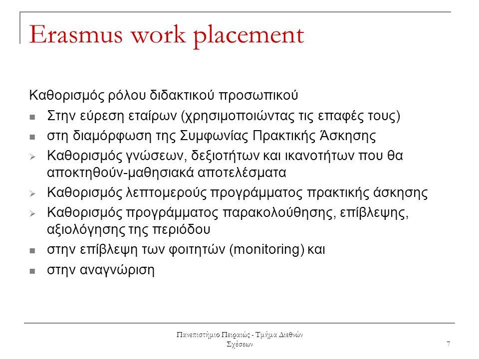 Πανεπιστήμιο Πειραιώς - Τμήμα Διεθνών Σχέσεων 7 Erasmus work placement Καθορισμός ρόλου διδακτικού προσωπικού Στην εύρεση εταίρων (χρησιμοποιώντας τις επαφές τους) στη διαμόρφωση της Συμφωνίας Πρακτικής Άσκησης  Καθορισμός γνώσεων, δεξιοτήτων και ικανοτήτων που θα αποκτηθούν-μαθησιακά αποτελέσματα  Καθορισμός λεπτομερούς προγράμματος πρακτικής άσκησης  Καθορισμός προγράμματος παρακολούθησης, επίβλεψης, αξιολόγησης της περιόδου στην επίβλεψη των φοιτητών (monitoring) και στην αναγνώριση