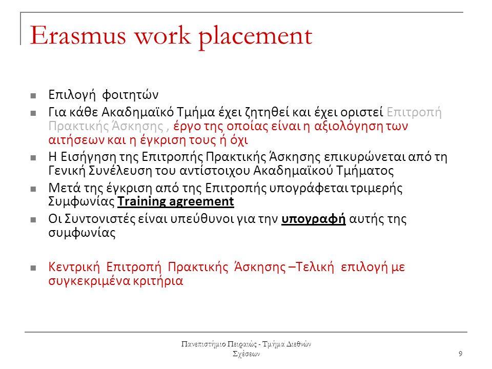 Πανεπιστήμιο Πειραιώς - Τμήμα Διεθνών Σχέσεων 9 Erasmus work placement Επιλογή φοιτητών Για κάθε Aκαδημαϊκό Τμήμα έχει ζητηθεί και έχει οριστεί Επιτροπή Πρακτικής Άσκησης, έργο της οποίας είναι η αξιολόγηση των αιτήσεων και η έγκριση τους ή όχι Η Εισήγηση της Επιτροπής Πρακτικής Άσκησης επικυρώνεται από τη Γενική Συνέλευση του αντίστοιχου Ακαδημαϊκού Τμήματος Μετά της έγκριση από της Επιτροπής υπογράφεται τριμερής Συμφωνίας Training agreement Οι Συντονιστές είναι υπεύθυνοι για την υπογραφή αυτής της συμφωνίας Κεντρική Επιτροπή Πρακτικής Άσκησης –Τελική επιλογή με συγκεκριμένα κριτήρια