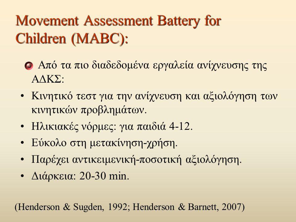 Movement Assessment Battery for Children (MABC): Από τα πιο διαδεδομένα εργαλεία ανίχνευσης της ΑΔΚΣ: Κινητικό τεστ για την ανίχνευση και αξιολόγηση των κινητικών προβλημάτων.