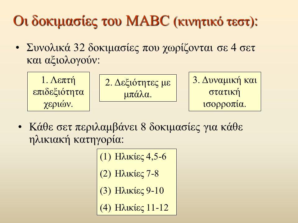 Οι δοκιμασίες του ΜΑΒC (κινητικό τεστ) : Συνολικά 32 δοκιμασίες που χωρίζονται σε 4 σετ και αξιολογούν: 1.