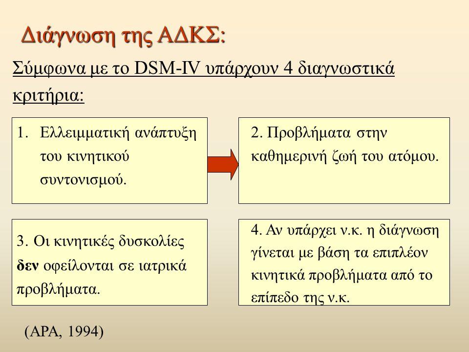 Διάγνωση της ΑΔΚΣ: Σύμφωνα με το DSM-IV υπάρχουν 4 διαγνωστικά κριτήρια: 1.Ελλειμματική ανάπτυξη του κινητικού συντονισμού.