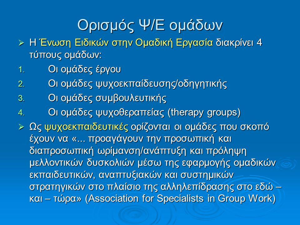 Πρόδρομοι των ψυχοεκπαιδευτικών ομάδων  Ο Jacob Moreno και το ψυχόδραμα  O Kurt Lewin και η δυναμική της ομάδας.