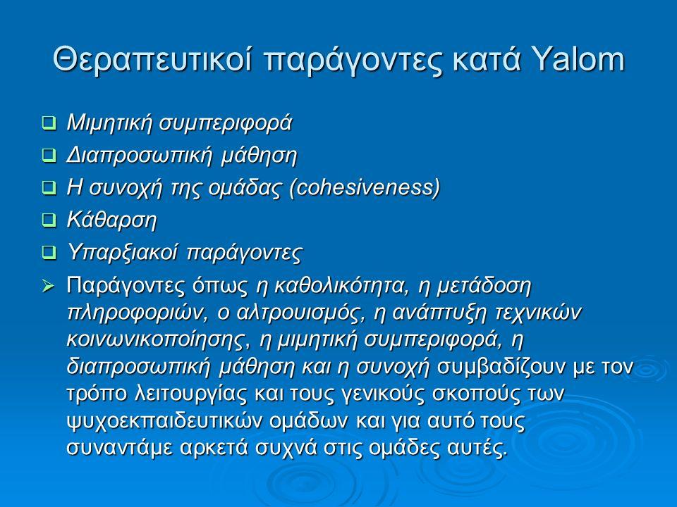Θεραπευτικοί παράγοντες κατά Yalom  Ο Yalom (2006) πρότεινε 11 θεραπευτικούς παράγοντες, οι οποίοι συμβάλλουν στην αποτελεσματικότητα της ομαδικής θεραπείας:  Ενστάλαξη ελπίδας  Καθολικότητα  Μετάδοση πληροφοριών  Αλτρουισμός  Διορθωτική ανασύσταση της πρωτογενούς ομάδας (οικογένεια)  Ανάπτυξη τεχνικών κοινωνικοποίησης (socializing techniques)