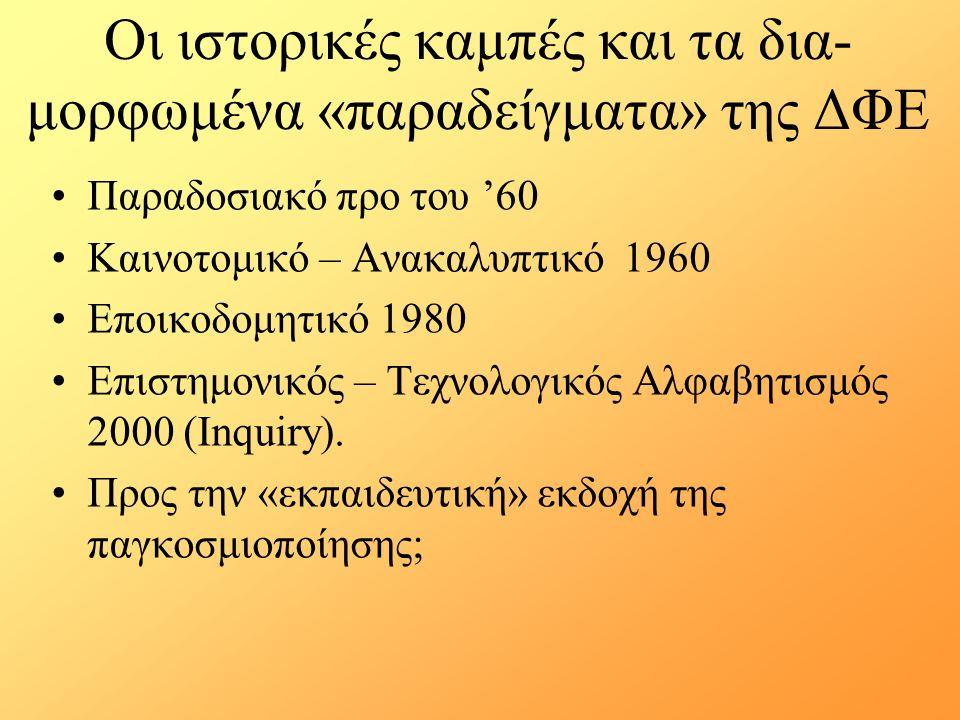 Οι ιστορικές καμπές και τα δια- μορφωμένα «παραδείγματα» της ΔΦΕ Παραδοσιακό προ του '60 Καινοτομικό – Ανακαλυπτικό 1960 Εποικοδομητικό 1980 Επιστημονικός – Τεχνολογικός Αλφαβητισμός 2000 (Inquiry).