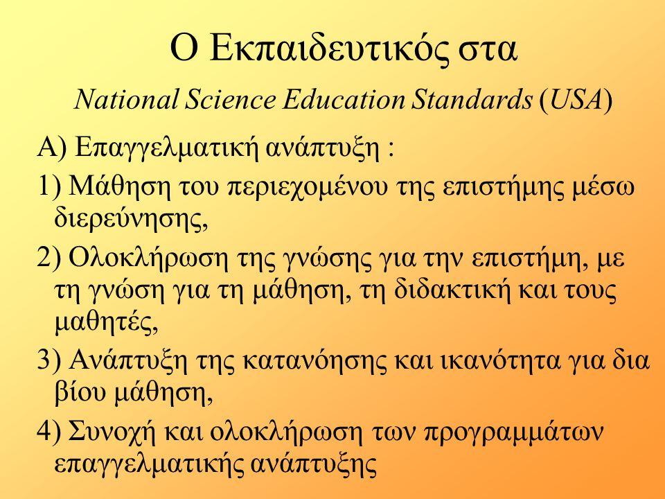 Ο Εκπαιδευτικός στα National Science Education Standards (USA) Α) Επαγγελματική ανάπτυξη : 1) Μάθηση του περιεχομένου της επιστήμης μέσω διερεύνησης, 2) Ολοκλήρωση της γνώσης για την επιστήμη, με τη γνώση για τη μάθηση, τη διδακτική και τους μαθητές, 3) Ανάπτυξη της κατανόησης και ικανότητα για δια βίου μάθηση, 4) Συνοχή και ολοκλήρωση των προγραμμάτων επαγγελματικής ανάπτυξης