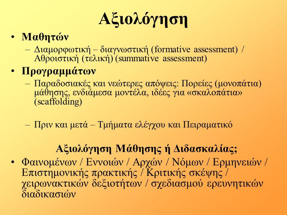 Αξιολόγηση Μαθητών –Διαμορφωτική – διαγνωστική (formative assessment) / Αθροιστική (τελική) (summative assessment) Προγραμμάτων –Παραδοσιακές και νεώτερες απόψεις: Πορείες (μονοπάτια) μάθησης, ενδιάμεσα μοντέλα, ιδέες για «σκαλοπάτια» (scaffolding) –Πριν και μετά – Τμήματα ελέγχου και Πειραματικό Αξιολόγηση Μάθησης ή Διδασκαλίας; Φαινομένων / Εννοιών / Αρχών / Νόμων / Ερμηνειών / Επιστημονικής πρακτικής / Κριτικής σκέψης / χειρωνακτικών δεξιοτήτων / σχεδιασμού ερευνητικών διαδικασιών