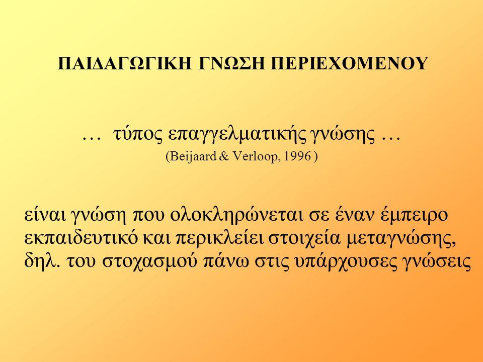 ΠΑΙΔΑΓΩΓΙΚΗ ΓΝΩΣΗ ΠΕΡΙΕΧΟΜΕΝΟΥ … τύπος επαγγελματικής γνώσης … (Beijaard & Verloop, 1996 ) είναι γνώση που ολοκληρώνεται σε έναν έμπειρο εκπαιδευτικό και περικλείει στοιχεία μεταγνώσης, δηλ.