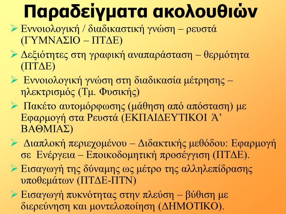 Παραδείγματα ακολουθιών  Εννοιολογική / διαδικαστική γνώση – ρευστά (ΓΥΜΝΑΣΙΟ – ΠΤΔΕ)  Δεξιότητες στη γραφική αναπαράσταση – θερμότητα (ΠΤΔΕ)  Εννο