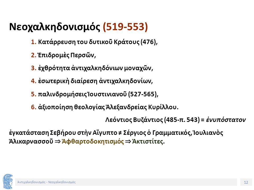 13 Ἀντιχαλκηδονισμός - Νεοχαλκηδονισμός 532: θεολογικὴ Διάσκεψη Κωνσταντινουπόλεως 535: ἐκλογὴ ἐπισκόπου Ἀλεξανδρείας Γαϊνᾶς ≠ Θεοδόσιος Α´ (535-566).