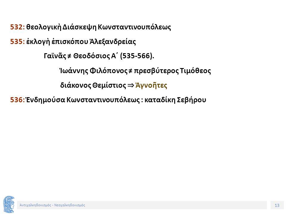 14 Ἀντιχαλκηδονισμός - Νεοχαλκηδονισμός Ἡ Θεοπασχιτικὴ ἔριδα (519-536) Σκύθες μοναχοί: Μαξέντιος, Ἀχίλλιος, Ἰωάννης, Λεόντιος, Μαυρίτιος.