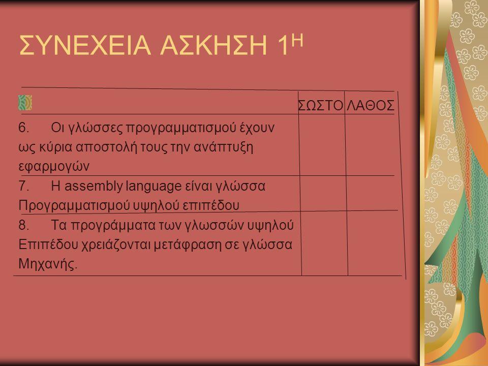 ΣΥΝΕΧΕΙΑ ΑΣΚΗΣΗ 1 Η ΣΩΣΤΟ ΛΑΘΟΣ 6.Οι γλώσσες προγραμματισμού έχουν ως κύρια αποστολή τους την ανάπτυξη εφαρμογών 7.Η assembly language είναι γλώσσα Προγραμματισμού υψηλού επιπέδου 8.Τα προγράμματα των γλωσσών υψηλού Επιπέδου χρειάζονται μετάφραση σε γλώσσα Μηχανής.