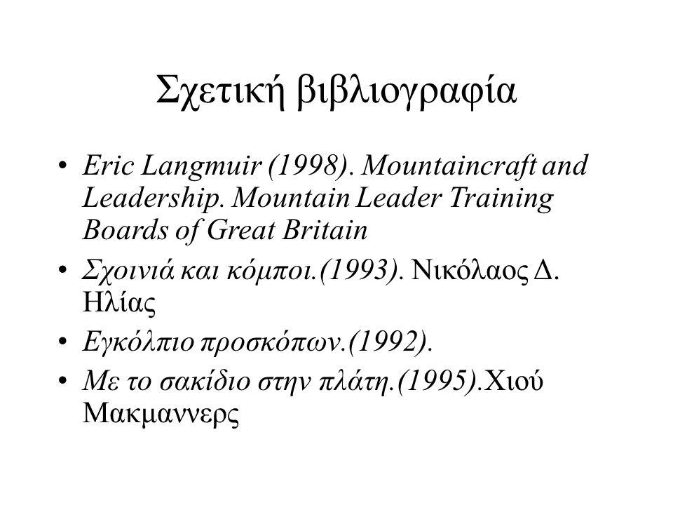Σχετική βιβλιογραφία Eric Langmuir (1998). Mountaincraft and Leadership.