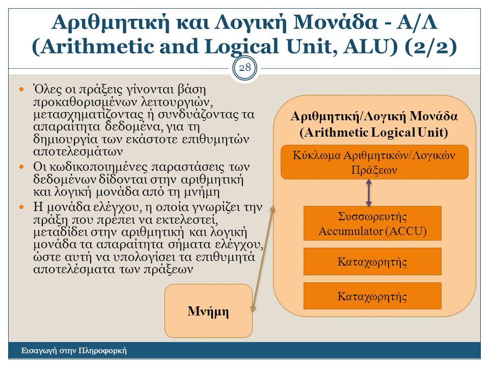 Αριθμητική και Λογική Μονάδα - Α/Λ (Arithmetic and Logical Unit, ALU) (2/2) Εισαγωγή στην Πληροφορκή 28 Όλες οι πράξεις γίνονται βάση προκαθορισμένων λειτουργιών, μετασχηματίζοντας ή συνδυάζοντας τα απαραίτητα δεδομένα, για τη δημιουργία των εκάστοτε επιθυμητών αποτελεσμάτων Οι κωδικοποιημένες παραστάσεις των δεδομένων δίδονται στην αριθμητική και λογική μονάδα από τη μνήμη Η μονάδα ελέγχου, η οποία γνωρίζει την πράξη που πρέπει να εκτελεστεί, μεταδίδει στην αριθμητική και λογική μονάδα τα απαραίτητα σήματα ελέγχου, ώστε αυτή να υπολογίσει τα επιθυμητά αποτελέσματα των πράξεων Αριθμητική/Λογική Μονάδα (Arithmetic Logical Unit) Συσσωρευτής Accumulator (ACCU) Καταχωρητής Μνήμη Καταχωρητής Κύκλωμα Αριθμητικών/Λογικών Πράξεων