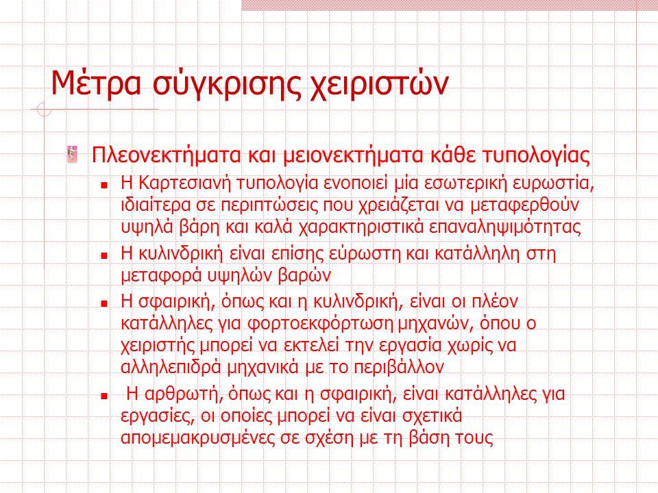 Μέτρα σύγκρισης χειριστών Πλεονεκτήματα και μειονεκτήματα κάθε τυπολογίας Η Καρτεσιανή τυπολογία ενοποιεί μία εσωτερική ευρωστία, ιδιαίτερα σε περιπτώσεις που χρειάζεται να μεταφερθούν υψηλά βάρη και καλά χαρακτηριστικά επαναληψιμότητας Η κυλινδρική είναι επίσης εύρωστη και κατάλληλη στη μεταφορά υψηλών βαρών Η σφαιρική, όπως και η κυλινδρική, είναι οι πλέον κατάλληλες για φορτοεκφόρτωση μηχανών, όπου ο χειριστής μπορεί να εκτελεί την εργασία χωρίς να αλληλεπιδρά μηχανικά με το περιβάλλον Η αρθρωτή, όπως και η σφαιρική, είναι κατάλληλες για εργασίες, οι οποίες μπορεί να είναι σχετικά απομεμακρυσμένες σε σχέση με τη βάση τους