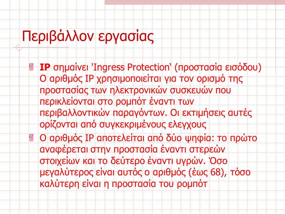 Περιβάλλον εργασίας IP σημαίνει Ingress Protection' (προστασία εισόδου) Ο αριθμός IP χρησιμοποιείται για τον ορισμό της προστασίας των ηλεκτρονικών συσκευών που περικλείονται στο ρομπότ έναντι των περιβαλλοντικών παραγόντων.