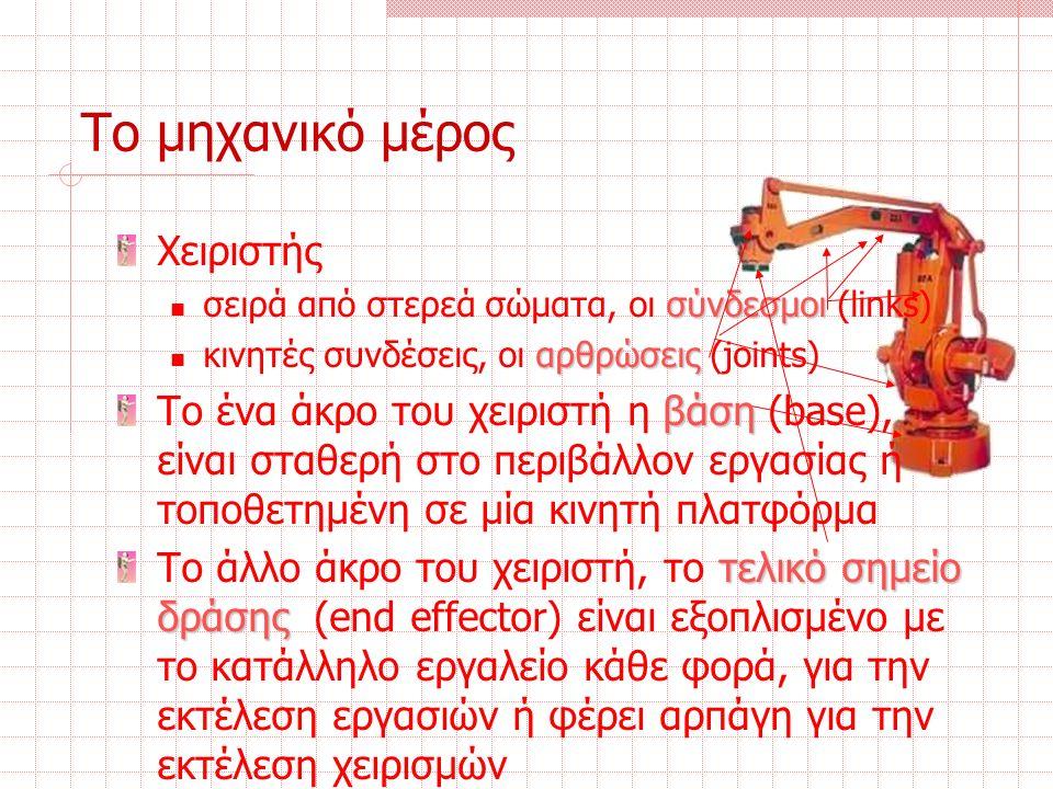 Το μηχανικό μέρος Χειριστής σύνδεσμοι σειρά από στερεά σώματα, οι σύνδεσμοι (links) αρθρώσεις κινητές συνδέσεις, οι αρθρώσεις (joints) βάση Το ένα άκρο του χειριστή η βάση (base), είναι σταθερή στο περιβάλλον εργασίας ή τοποθετημένη σε μία κινητή πλατφόρμα τελικό σημείο δράσης Το άλλο άκρο του χειριστή, το τελικό σημείο δράσης (end effector) είναι εξοπλισμένο με το κατάλληλο εργαλείο κάθε φορά, για την εκτέλεση εργασιών ή φέρει αρπάγη για την εκτέλεση χειρισμών