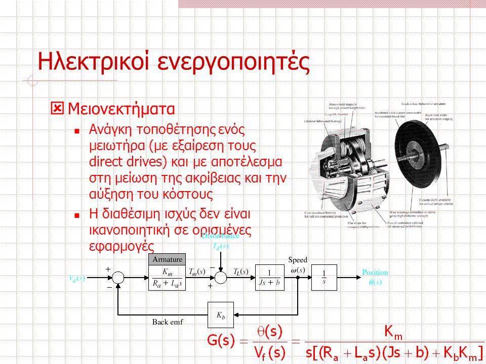 Ηλεκτρικοί ενεργοποιητές  Μειονεκτήματα Ανάγκη τοποθέτησης ενός μειωτήρα (με εξαίρεση τους direct drives) και με αποτέλεσμα στη μείωση της ακρίβειας και την αύξηση του κόστους Η διαθέσιμη ισχύς δεν είναι ικανοποιητική σε ορισμένες εφαρμογές
