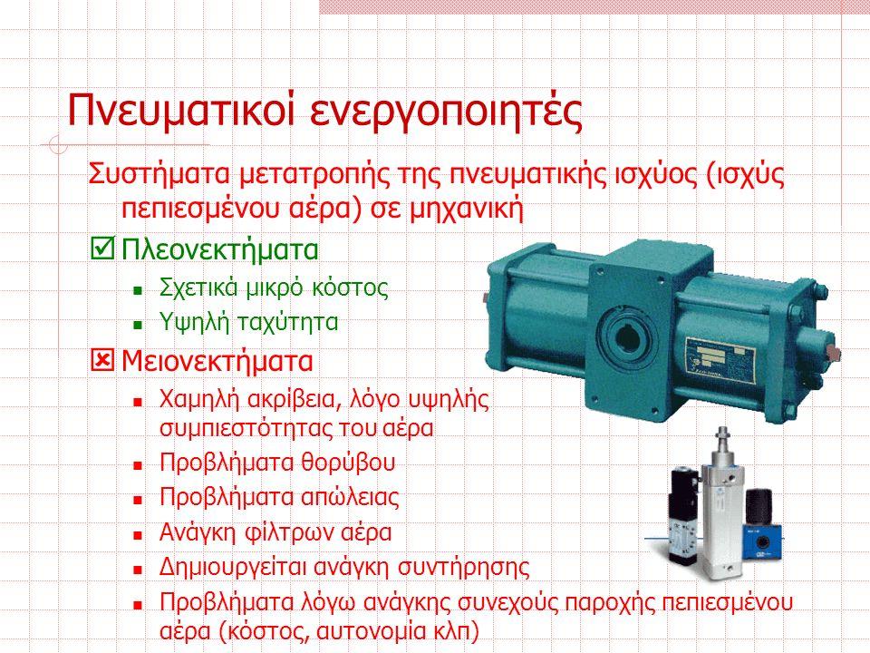 Πνευματικοί ενεργοποιητές Συστήματα μετατροπής της πνευματικής ισχύος (ισχύς πεπιεσμένου αέρα) σε μηχανική  Πλεονεκτήματα Σχετικά μικρό κόστος Υψηλή ταχύτητα  Μειονεκτήματα Χαμηλή ακρίβεια, λόγο υψηλής συμπιεστότητας του αέρα Προβλήματα θορύβου Προβλήματα απώλειας Ανάγκη φίλτρων αέρα Δημιουργείται ανάγκη συντήρησης Προβλήματα λόγω ανάγκης συνεχούς παροχής πεπιεσμένου αέρα (κόστος, αυτονομία κλπ)