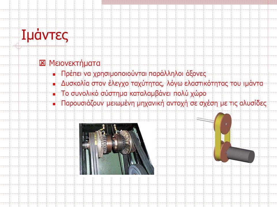 Ιμάντες  Μειονεκτήματα Πρέπει να χρησιμοποιούνται παράλληλοι άξονες Δυσκολία στον έλεγχο ταχύτητας, λόγω ελαστικότητας του ιμάντα Το συνολικό σύστημα καταλαμβάνει πολύ χώρο Παρουσιάζουν μειωμένη μηχανική αντοχή σε σχέση με τις αλυσίδες