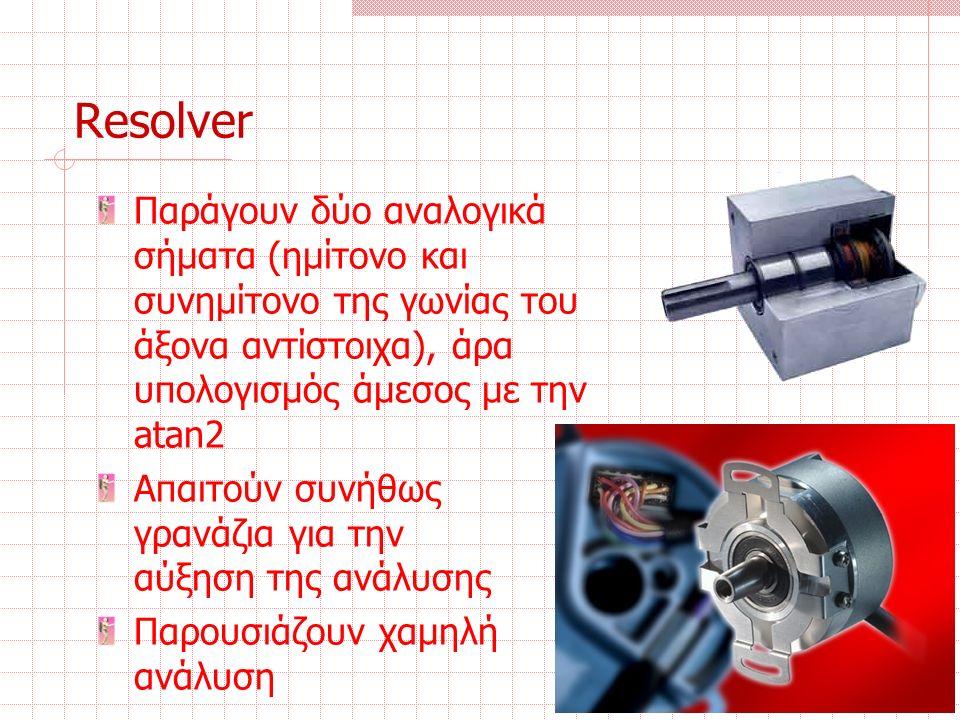 Resolver Παράγουν δύο αναλογικά σήματα (ημίτονο και συνημίτονο της γωνίας του άξονα αντίστοιχα), άρα υπολογισμός άμεσος με την atan2 Απαιτούν συνήθως γρανάζια για την αύξηση της ανάλυσης Παρουσιάζουν χαμηλή ανάλυση