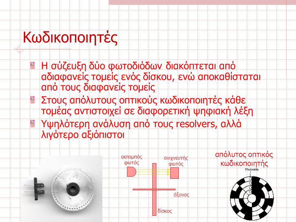 Κωδικοποιητές Η σύζευξη δύο φωτοδιόδων διακόπτεται από αδιαφανείς τομείς ενός δίσκου, ενώ αποκαθίσταται από τους διαφανείς τομείς Στους απόλυτους οπτικούς κωδικοποιητές κάθε τομέας αντιστοιχεί σε διαφορετική ψηφιακή λέξη Υψηλότερη ανάλυση από τους resolvers, αλλά λιγότερο αξιόπιστοι άξονας δίσκος εκπομπός φωτός ανιχνευτής φωτός απόλυτος οπτικός κωδικοποιητής