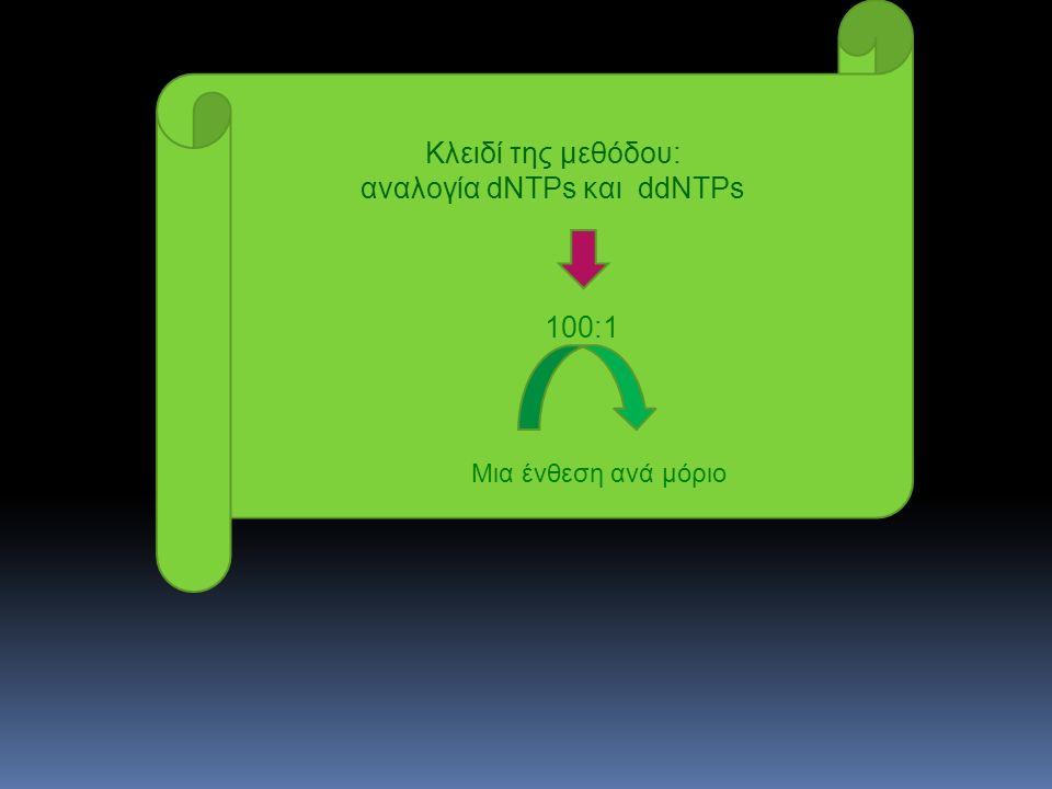 Κλειδί της μεθόδου: αναλογία dNTPs και ddNTPs 100:1 Μια ένθεση ανά μόριο