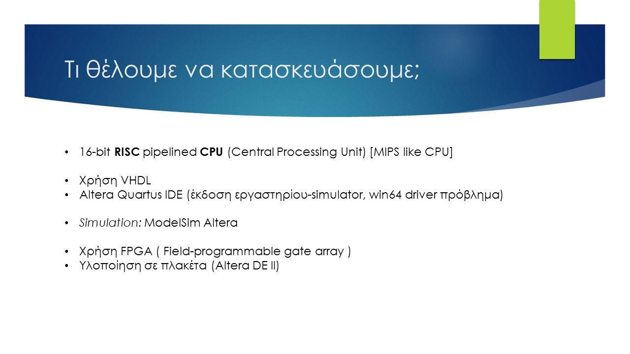 Τι θέλουμε να κατασκευάσουμε; 16-bit RISC pipelined CPU (Central Processing Unit) [MIPS like CPU] Χρήση VHDL Altera Quartus IDE (έκδοση εργαστηρίου-simulator, win64 driver πρόβλημα) Simulation: ModelSim Altera Χρήση FPGA ( Field-programmable gate array ) Υλοποίηση σε πλακέτα (Altera DE II)
