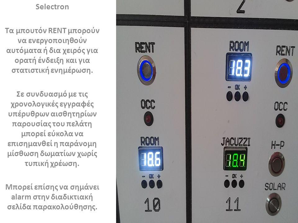 Selectron Τα μπουτόν RENT μπορούν να ενεργοποιηθούν αυτόματα ή δια χειρός για ορατή ένδειξη και για στατιστική ενημέρωση.