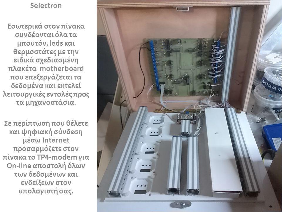 Selectron Εσωτερικά στον πίνακα συνδέονται όλα τα μπουτόν, leds και θερμοστάτες με την ειδικά σχεδιασμένη πλακέτα motherboard που επεξεργάζεται τα δεδομένα και εκτελεί λειτουργικές εντολές προς τα μηχανοστάσια.