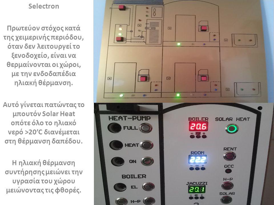 Selectron Πρωτεύον στόχος κατά της χειμερινής περιόδου, όταν δεν λειτουργεί το ξενοδοχείο, είναι να θερμαίνονται οι χώροι, με την ενδοδαπέδια ηλιακή θέρμανση.