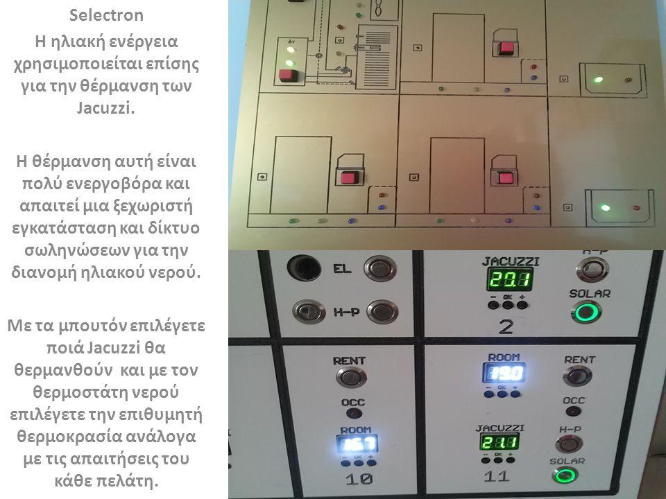 Selectron Η ηλιακή ενέργεια χρησιμοποιείται επίσης για την θέρμανση των Jacuzzi.