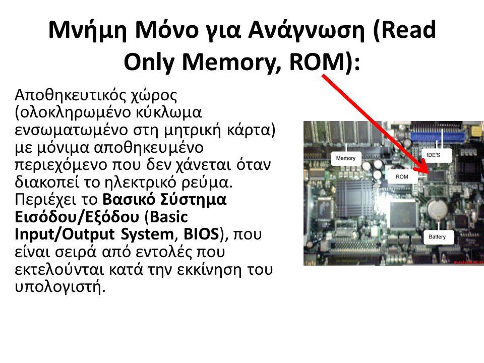 Μνήμη Μόνο για Ανάγνωση (Read Only Memory, ROM): Αποθηκευτικός χώρος (ολοκληρωμένο κύκλωμα ενσωματωμένο στη μητρική κάρτα) με μόνιμα αποθηκευμένο περιεχόμενο που δεν χάνεται όταν διακοπεί το ηλεκτρικό ρεύμα.